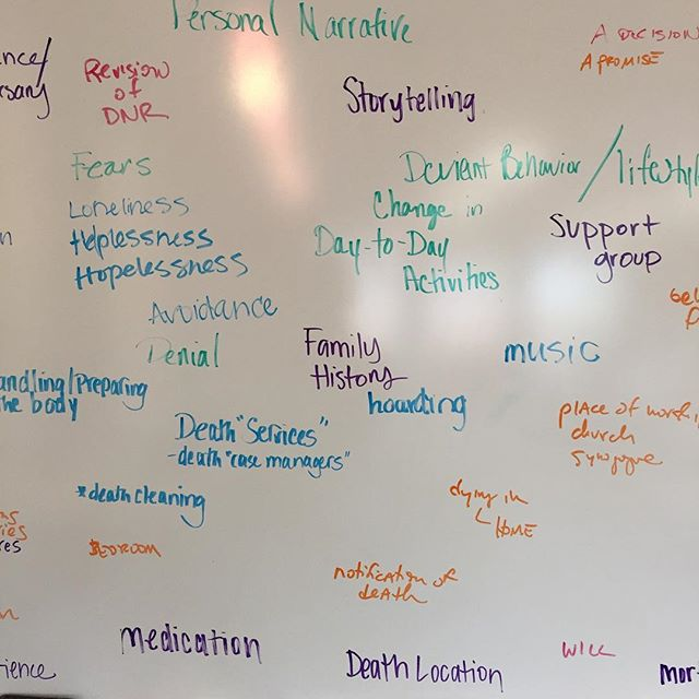 Mapping palliative care. Day 1 of our @scrippsaging work to bound a seemingly boundless topic. @miamiuniversity #wkbnch
